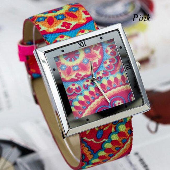 Pestrobarevné hodinky se čtvercovým ciferníkem - 4 barvy 1