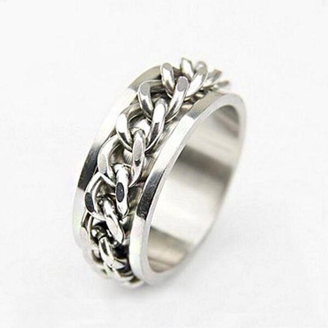 Pánský titanový prsten zdobený řetízkem - 5 velikostí 1