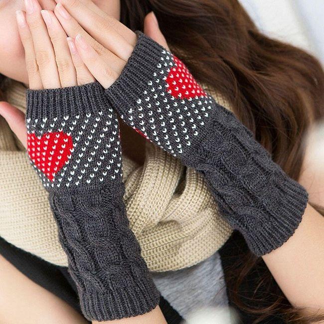Ženske rokavice pletené rukavice se srdíčkem 1