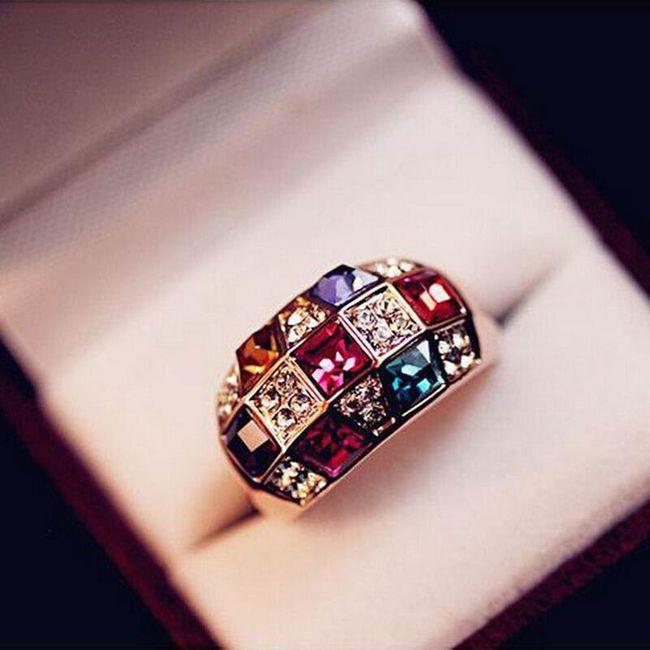 Дамски пръстен с пъстроцветни камъчета 1