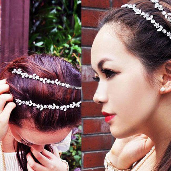 Elastyczny diadem do włosów z kamyczkami 1