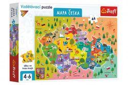 Vzdelávacie puzzle mapa Českej republiky 44 dielikov 60x40cm v krabici RM_89115562