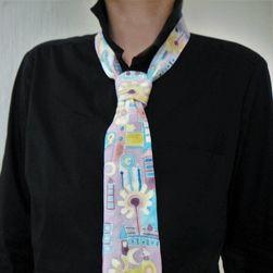 Hedvábná ručně malovaná kravata Město v lila