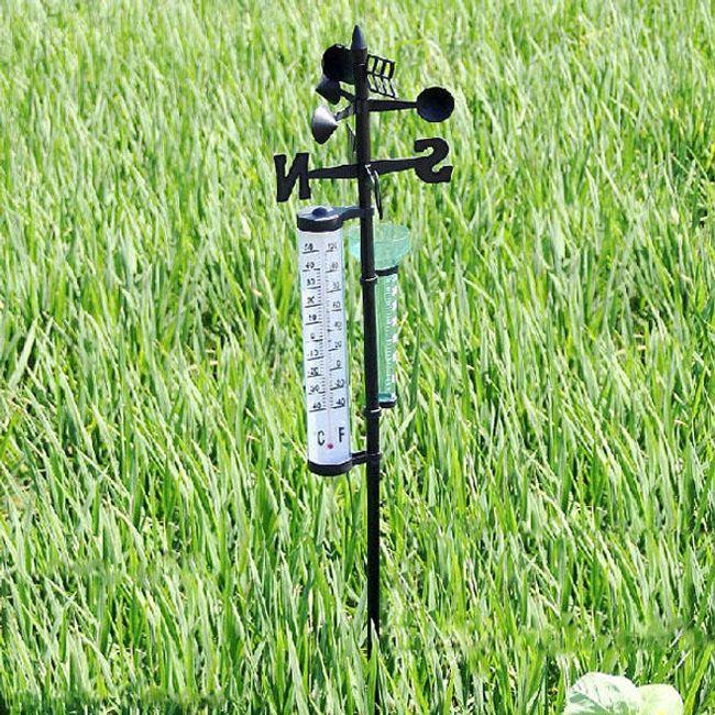 Stație meteo de grădină cu termometru și indicator de ploaie 1