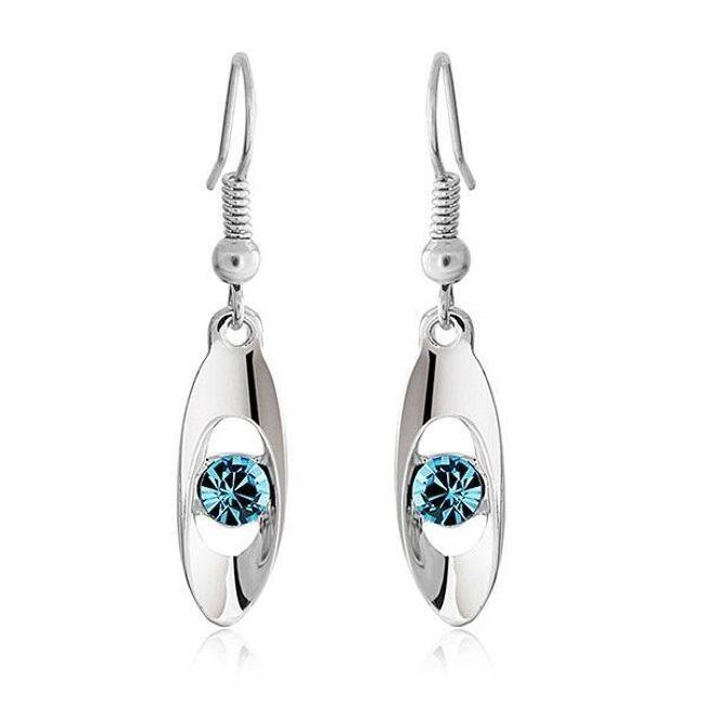 Fülbevaló színes kővel - kék 1