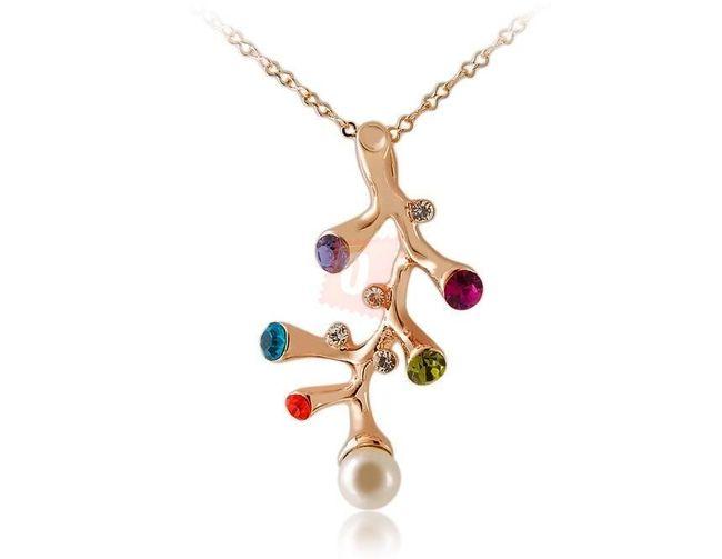 Náhrdelník se zdobenou větvičkou - zlatá barva 1