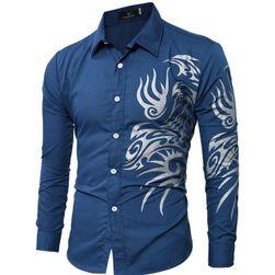 Modna koszula męska zdobiona ornamentami po bokach - 9 kolorów