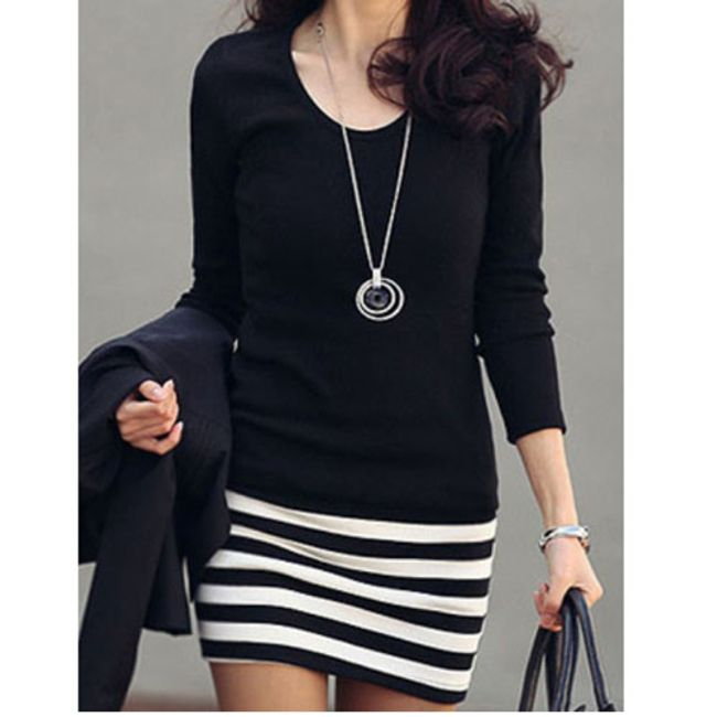 Šaty s dlouhým rukávem a vzorem proužku - 5 1