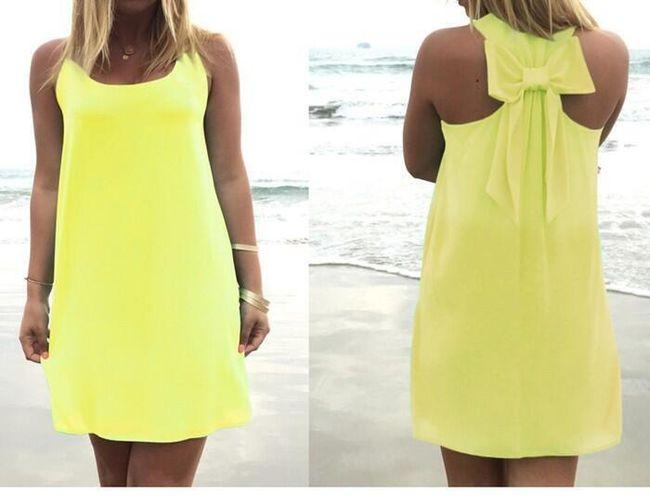 Letní šaty s mašlí na zádech - žlutá, velikost č. 7 1