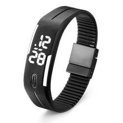 Silikonové digitální hodinky v podobě náramku - černá