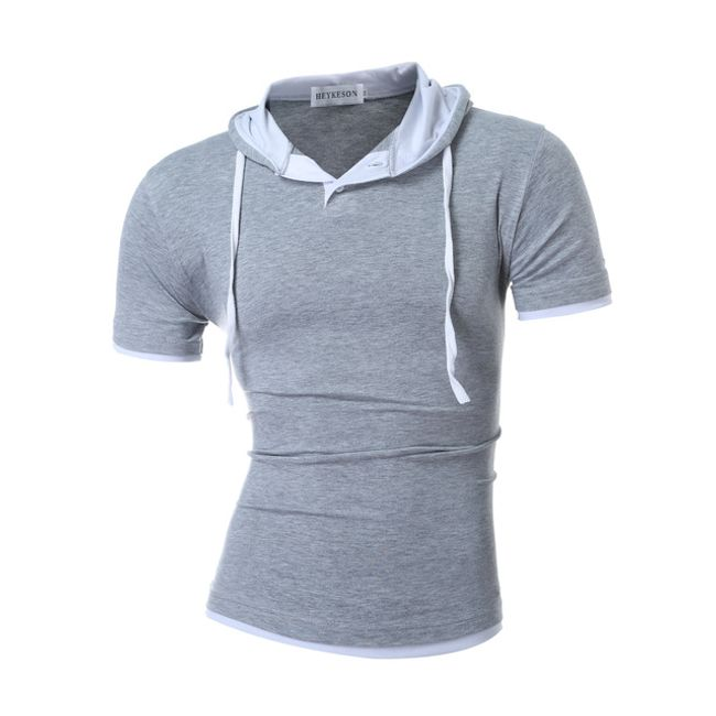 Pánské tričko s krátkým rukávem a kapucí - Šedá, velikost 3 1