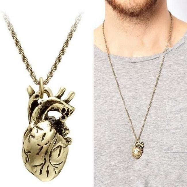 Moška ogrlica z obeskom v obliki človeškega srca 1