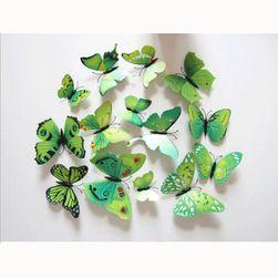 Zöld 3D-s pillangók matrica a falra