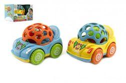 Auto s chrastítkem plast 10cm asst 2 barvy v krabičce 18x12x14cm 12m+ RM_00312898