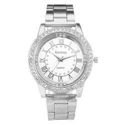 Женские наручные часы, украшенные прозрачными камнями - серебристого цвета
