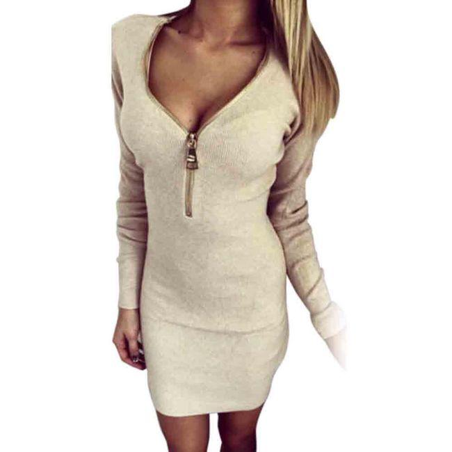 Luxusní dámské elastické šaty - béžová, vel. 3 1