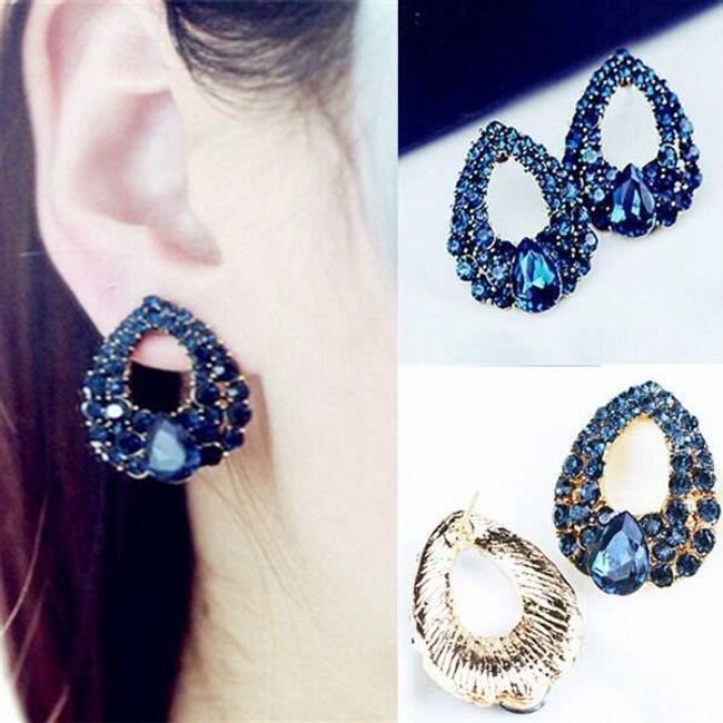 Divatos fülbevalók kék kristályokkal 1