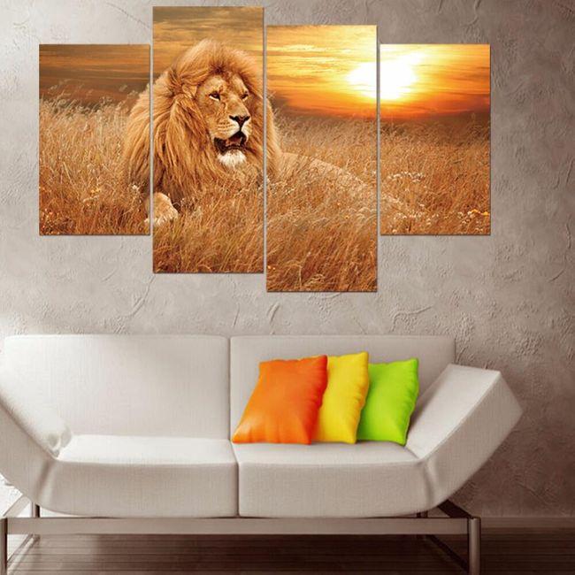 Obraz lva ze čtyř částí - bez podložek a rámů 1