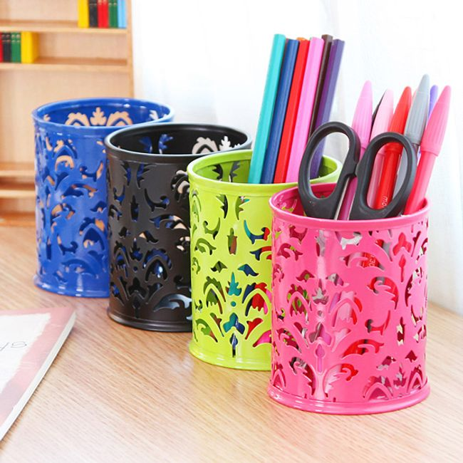 Kovový stojánek na tužky s dekorem - 4 barvy 1