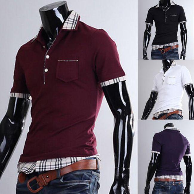 Pánská polo košile s kostkovaným vzorem - více barev 1