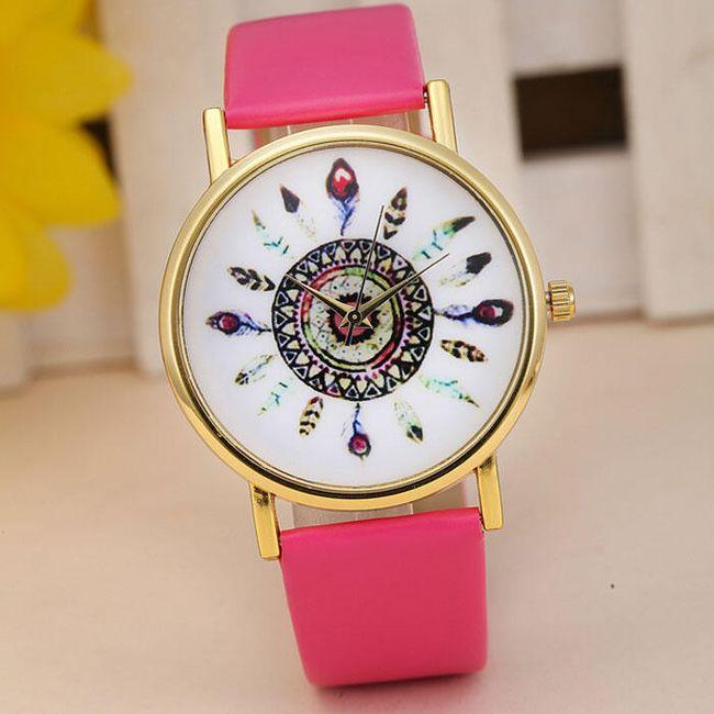 Dámské hodinky s indiánskými motivy v mnoha barvách - Tmavě růžová 1