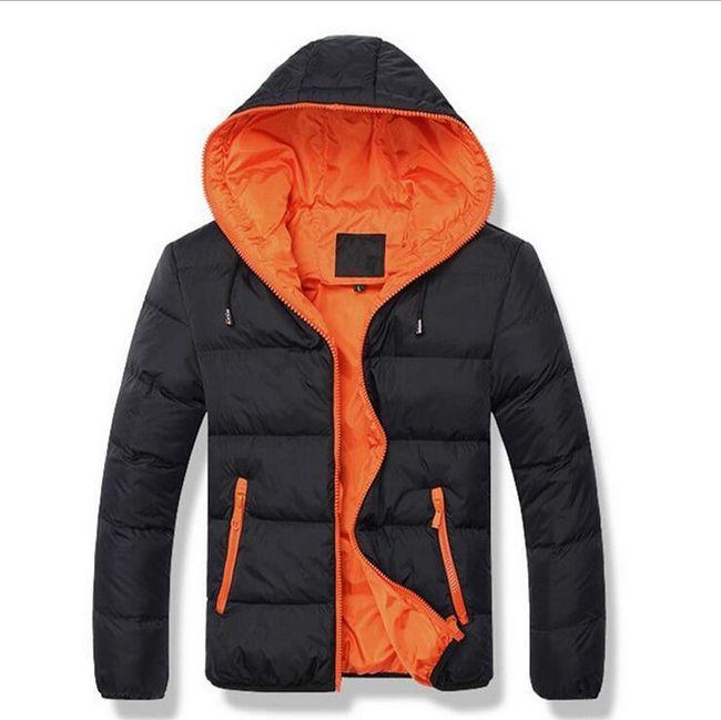 Pánská zimní bunda s kapucí - černá/oranžová-velikost č. 8 1