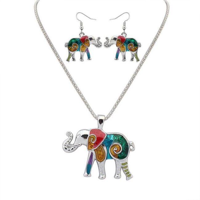 Set šperků se slonem ve zlaté nebo stříbrné barvě 1