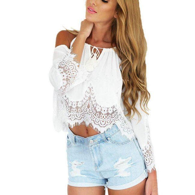 Krátký letní top s krajkovým zdobením - Bílá, velikost 2 1