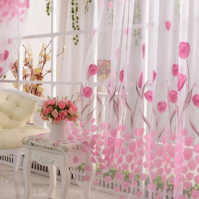 Розовый тюль с мотивом тюльпанов 1