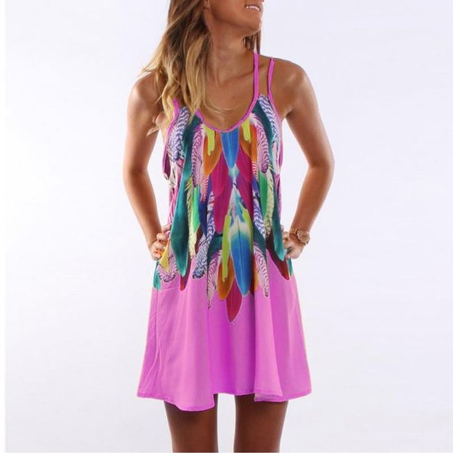 Krátké šaty s pírky - Růžová-velikost č. 3 1