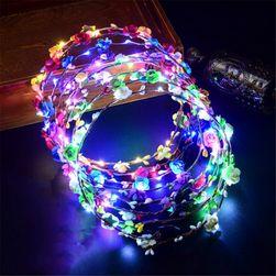 Květinový věneček do vlasů s LED světýlky - různé barvy