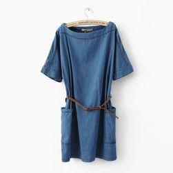 Ležérní džínové šaty s páskem