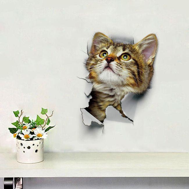Samolepka na zeď s kočkou v roztomilém designu 1
