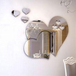 Samolepilno ogledalo v obliki srca srebrna