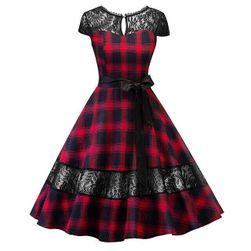 Damska sukienka retro w kratkę