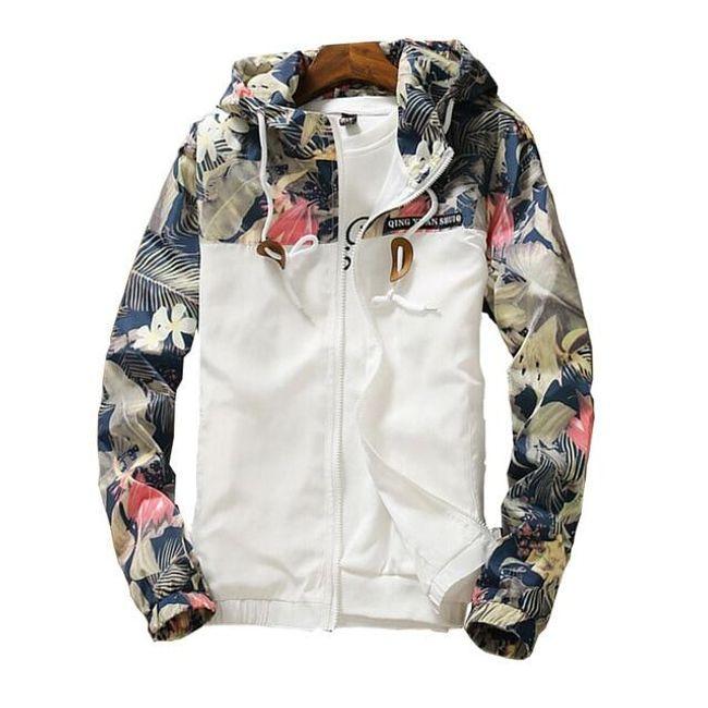 Dámská bunda s kvítky - Bílá_velikost č. 1 1
