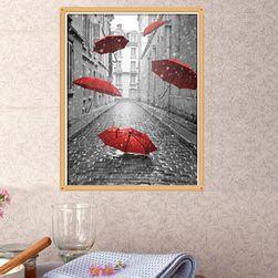 Obraz DIY z czerwonym parasolem - 3 warianty