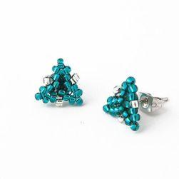 Náušnice z korálků trojúhelníčky zeleno-modré