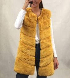Dámská kožíšková vesta - okrová