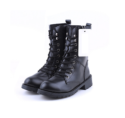 Женские чёрные ботинки на шнуровке