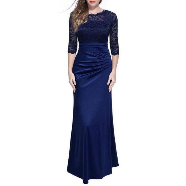 Večerní šaty s krajkou - Modrá-velikost č. 2 1