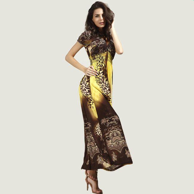 Bohémské dámské šaty s motivem leoparda - Žlutá - velikost č. 6 1