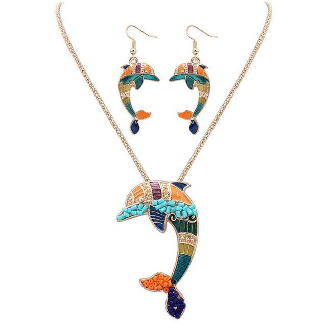 Set šperků s delfínem ve zlaté nebo stříbrné barvě 1