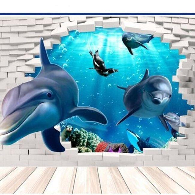 3Д стикер за стена - Делфини 1