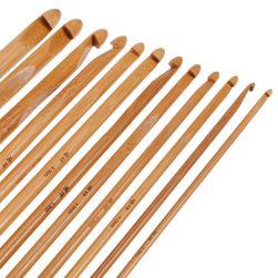 Комплект 12 бамбукови куки за плетене - различни размери