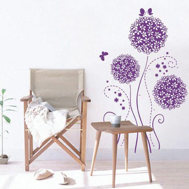 Dekorace na zeď - fialové květiny 1
