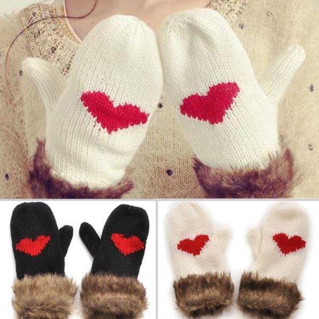 Mănuși de fată cu blană și inimioara 1
