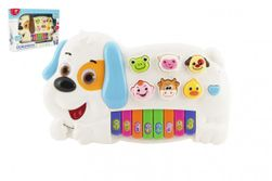 """Pianko psík so zvieratkami plast 28cm na batérie so zvukom so svetlom 2 farby v krabici 32x22x6cm """" RM_00850165"""