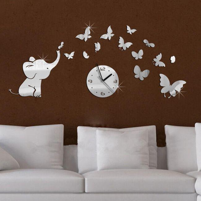 Ceas de perete original cu elefant și fluturi 1