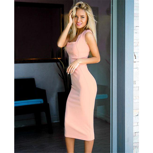 Dámské šaty v úzkém střihu - Růžová-velikost č. 5 1